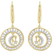 She Shines Sterling Silver and 14K Gold Plated 1/4 CTW Diamond Dangling Earrings
