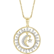 She Shines 14K Gold over Sterling Silver 1/4 CTW Diamond Star Moon Circle Pendant