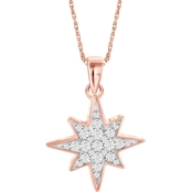 She Shines Gold Over Sterling Silver 1/4 CTW Diamond Star Pendant