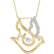 Animal Rocks 14K Yellow Gold Over Sterling Silver 1/7 CTW Diamonds Sky Bird Pendant