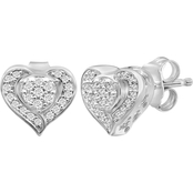 Sterling Silver 1/7ctw Diamond Heart Earrings