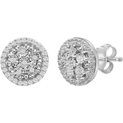 She Shines Sterling Silver 1/5 CTW Genuine White Diamonds Cluster Miracle Earrings