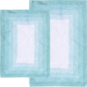 Chesapeake Whitney Ombre 2Pc. Reversible Nile Green Bath Rug Set 18650