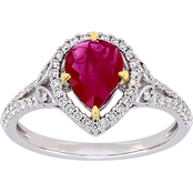 Sofia B. Pear-Cut Ruby and 1/3 CTW Diamond Halo Ring in 14K White Gold
