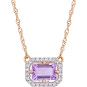Sofia B. Amethyst and 1/10 CT TW Diamond Halo Framed Necklace in 14k Rose Gold