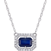 Sofia B. Sapphire and 1/10 CTW Diamond Halo Framed Necklace in 14K White Gold