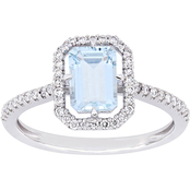 Aquamarine and 1/4 CTW Diamond Halo Framed Ring in 14K White Gold