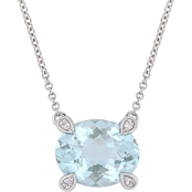 Sofia B. 10K White Gold Aquamarine and Diamond Accent Necklace