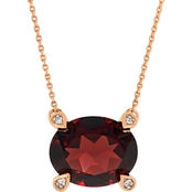 Sofia B. 10K Rose Gold Garnet and Diamond Accent Necklace
