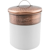 Thirstystone Medium White Enamel Canister with Hammered Copper Finish Rim & Lid