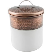 Thirstystone Large White Enamel Canister with Copper Finish Rim and Lid