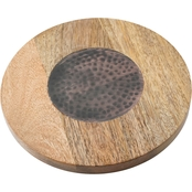 Thirstystone 8 in. Acacia Wood and Antique Hammered Copper Trivet