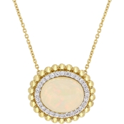 Sofia B. 14K Yellow Gold Ethiopian Opal and 1/4 CTW Diamond Halo Necklace 18 in.