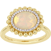 Sofia B. 14K Yellow Gold 1/10 CTW Diamond and Ethiopian Opal Halo Ring