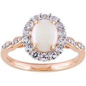 Sofia B. 14K Rose Gold Diamond Accent Opal White Topaz Halo Vintage Ring Size 7