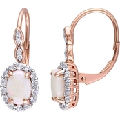 Sofia B. 14K Rose Gold Opal, White Topaz and Diamond Accent Halo Vintage Earrings