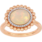 Sofia B. 14K Rose Gold 1/10 CTW Diamond and Ethiopian Opal Halo Ring, Size 7
