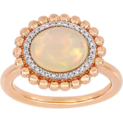 Sofia B. 14k Rose Gold Ethiopian Opal and 1/10 CT TW Diamond Halo Ring
