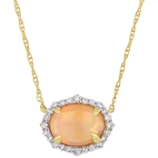 Sofia B. 10K Yellow Gold 1/10 CTW Diamond and Ethiopian Opal Halo Necklace