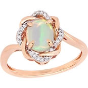 Sofia B. 10K Rose Gold 1/10 CTW Diamond and Ethiopian Opal Ring