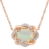 Sofia B. 10K Rose Gold 1/10 CTW Diamond and Ethiopian Opal Necklace