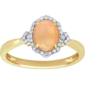 Sofia B. 10k Yellow Gold Ethiopian Opal and 1/8 CT TW Diamond Halo Ring