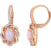 Sofia B. Ethiopian Opal and 1/4 CT TW Diamond Earrings in 10k Rose Gold