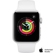 Apple Watch Series 3 GPS Silver Aluminum Case with White Sport Band