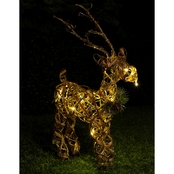 Alpine Rattan and Berry Reindeer Decoration