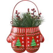Alpine Christmas Red Mittens Planter
