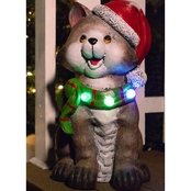 Cat Wearing Santa Hat Statue with Color Changing LED Lights