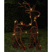 Alpine Rattan Christmas Reindeer Decoration with LED Lights