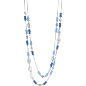 Carol Dauplaise Silvertone Blue Beaded Two Row 30 in. Long Necklace