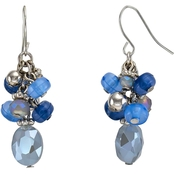 Carol Dauplaise Silvertone Blue Cluster Earrings