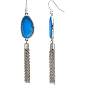 Carol Dauplaise Silvertone Blue Teardrop Chain Tassel Earrings