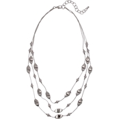 Carol Dauplaise Silvertone 3 Row Metal Illusion Necklace