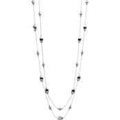 Carol Dauplaise Silvertone 2 Row Beaded Illusion 34 in. Necklace