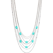 Carol Dauplaise Silvertone Multi Row Station 19 in. Necklace with Mint Beads
