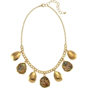 Carol Dauplaise Goldtone Frontal Neutral Shell Drop 18 in. Necklace
