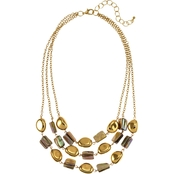 Carol Dauplaise Goldtone 3 Row Link Shell Short 18 in. Necklace