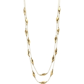 Carol Dauplaise Goldtone 2 Row Illusion Necklace with Station, 33 in.
