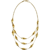 Gold Tone 3 Row Metal Beads Illusion Chain Necklace
