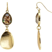 Carol Dauplaise Goldtone Pear Shape Bead and Metal Double Drop Earrings
