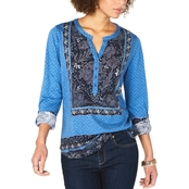 Style & Co Petite Printed Split Neck Roll Tab Top