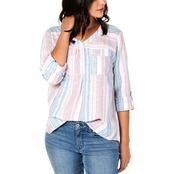 Style & Co Petite Striped Roll Tab Top