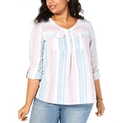 Style & Co. Plus Size Striped Roll Tab Top