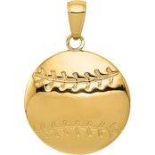 14K Yellow Gold Diamond Cut Baseball Charm