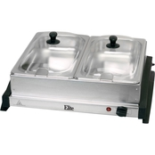 Elite Gourmet Stainless Steel Dual Tray Buffet Server