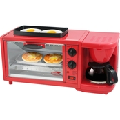 Elite 3 in 1 Deluxe Breakfast Station, Red