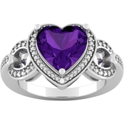 Sterling Silver 9mm Heart Amethyst Diamond Accent Ring